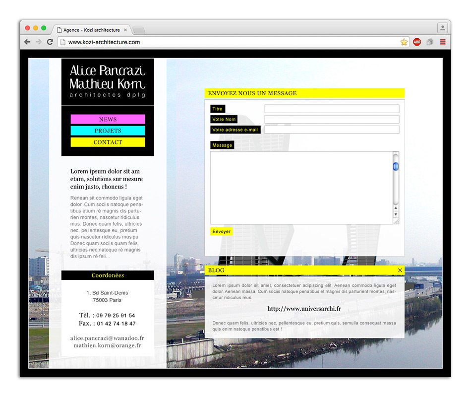 Page contact site web Kozi architecture 5